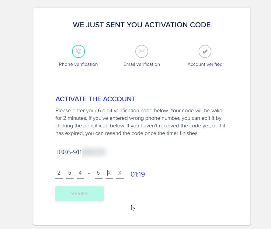 Cloudways註冊帳戶時,需要手機驗證