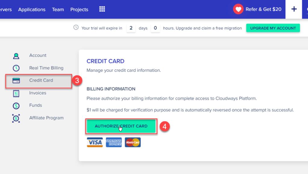 授權信用卡,讓Cloudways每月扣款