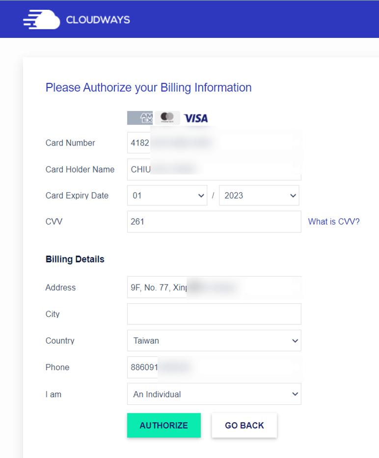 填寫信用卡資料,每月扣款。